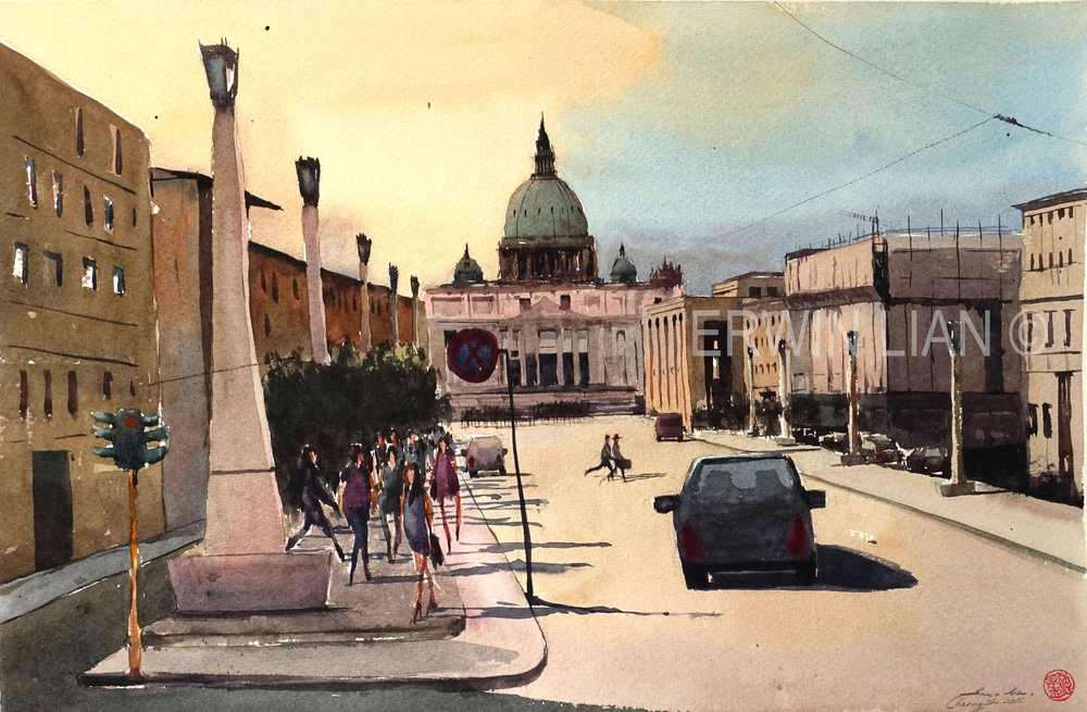 Road to Rome, 53.5 cm x 35 cm, Transparent Watercolor
