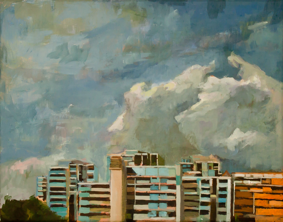 Title: Clouds above 148   | Acrylic on Canvas | 35.4 cm X 28 cm}