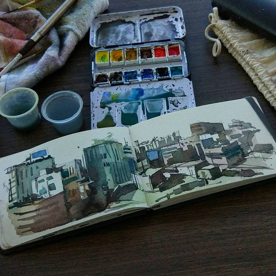 Finally got to sketch Seoul a little.