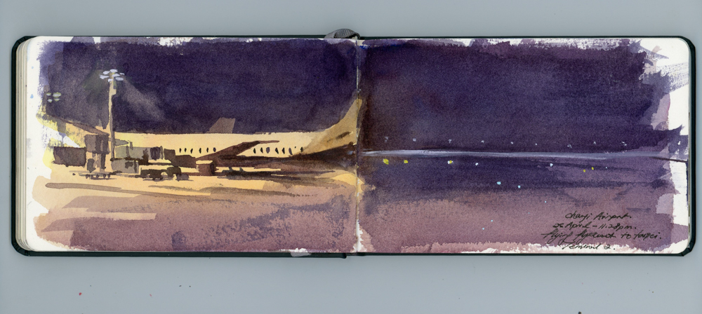 Took Flyscoot 889 red eye flight to TPE. Painted this in Changi Airport. I was to arrive in TPE at 5 30 am !!!!