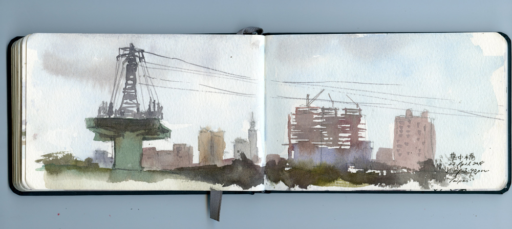 The power towers were interesting enough to earn a page in my sketchbook.