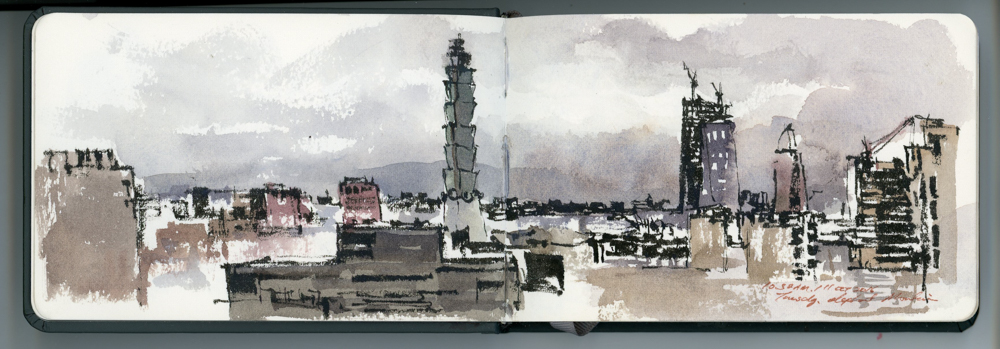 An old sketch I did of Taipei from a hike up Elephant mountain.