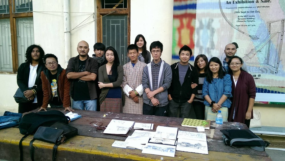 The founding members of Urban Sketchers, Thimphu