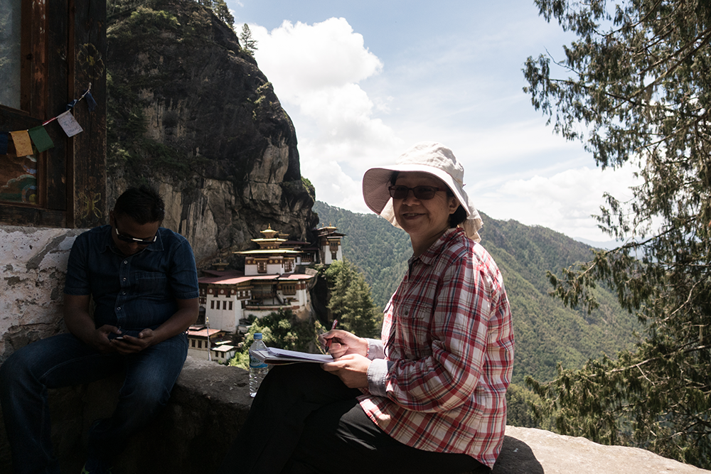 Phyllis sketching up at Tiger's Nest