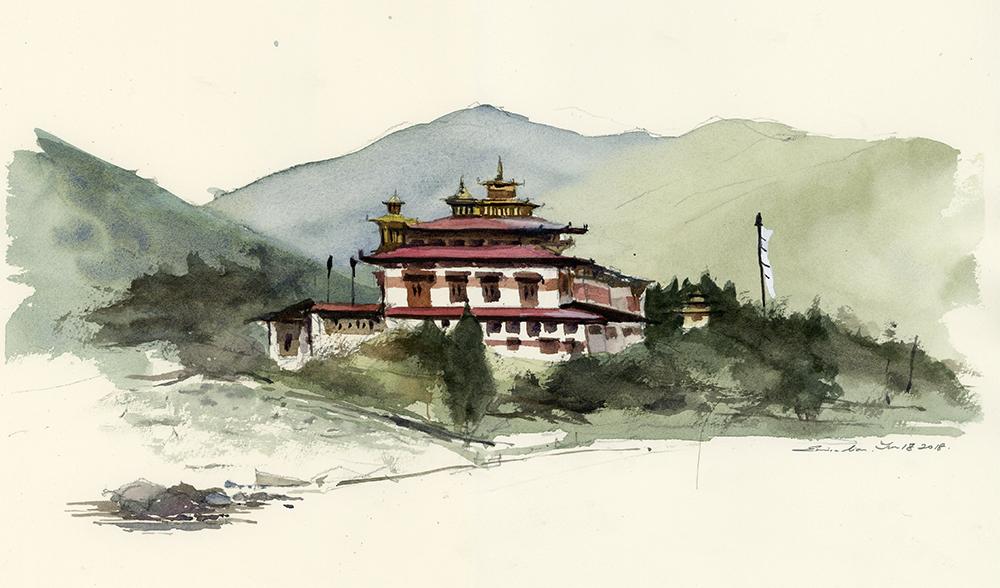 Punakha Dzong, 37.5cm x 21 cm)