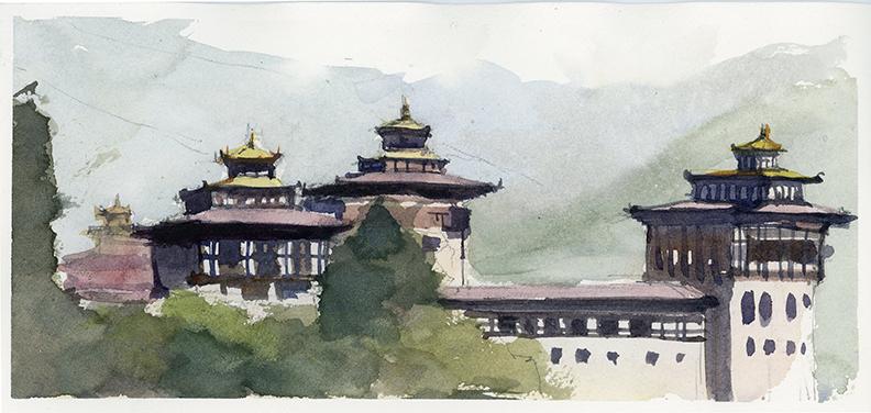 Tashichho Dzong 27 cm x 12.5 cm