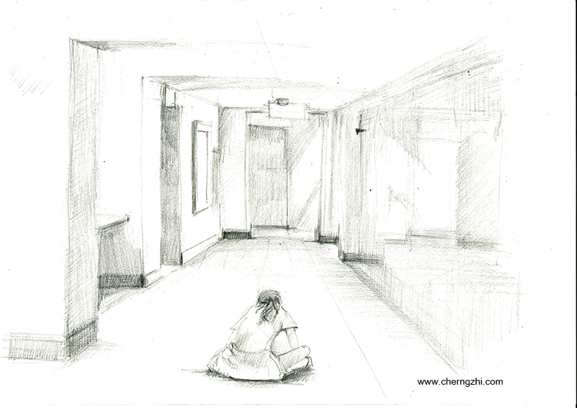 Demonstration sketch of drawing the hallway. I captured one of my student, working in the hallway.
