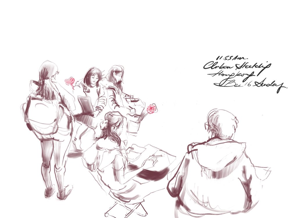 Digital sketch of the urban sketchers HK at work
