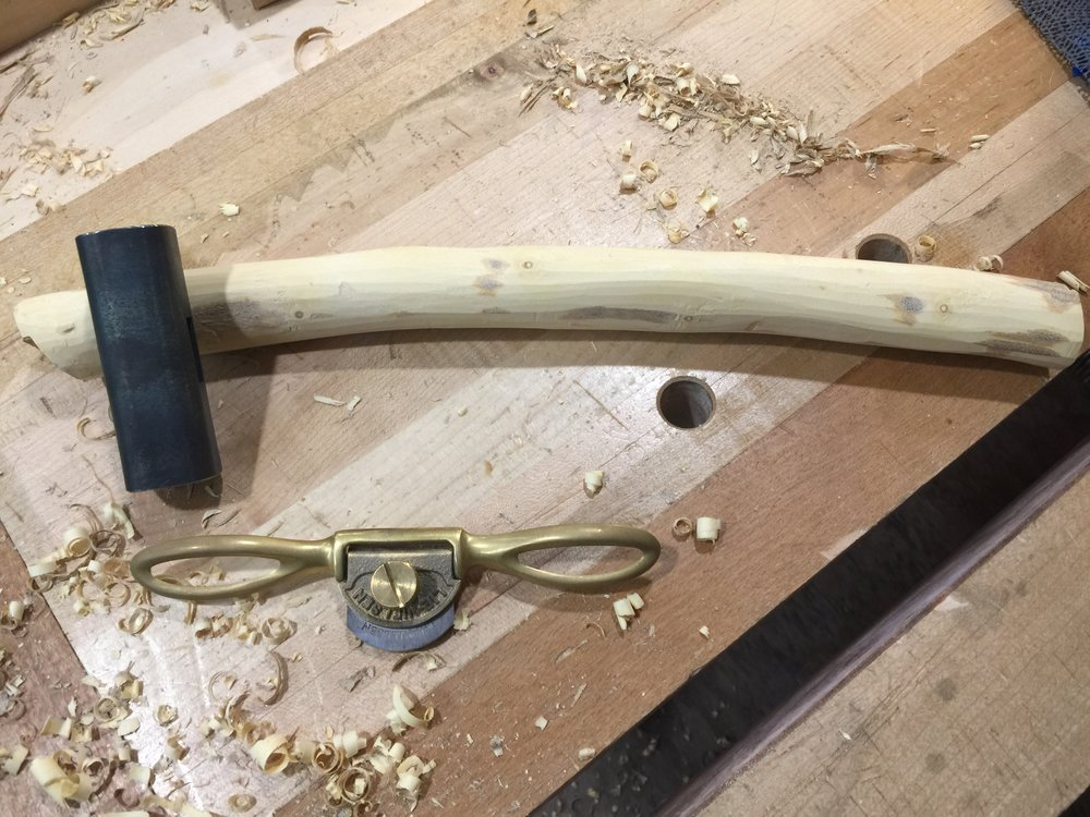 Though a spokeshave works best on the bark.