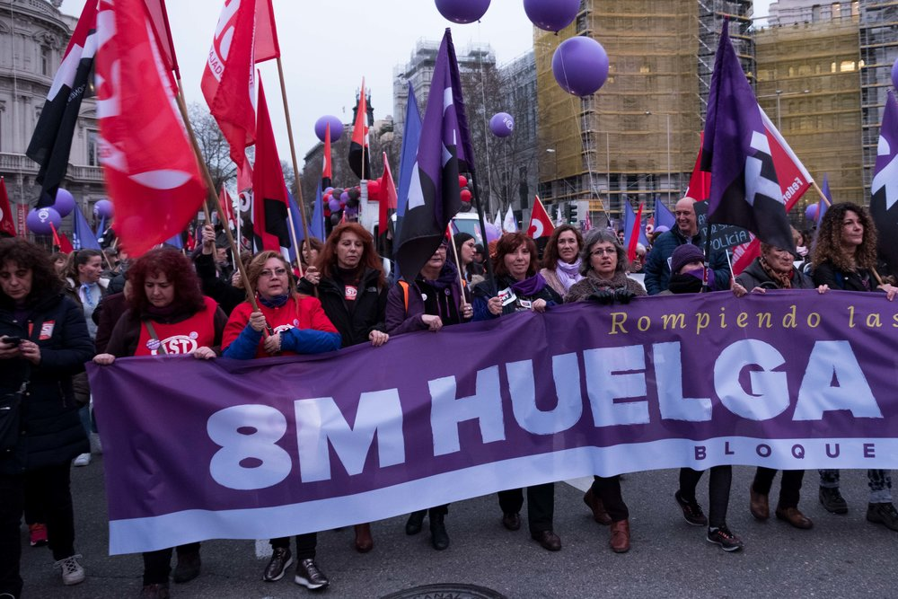 Protesters take part in a demonstration during a nationwide feminist strike on International Women's Day from Puerta Alcala, Cibeles to Gran Via in Madrid , Spain, March 8, 2018. © JESUS HELLIN