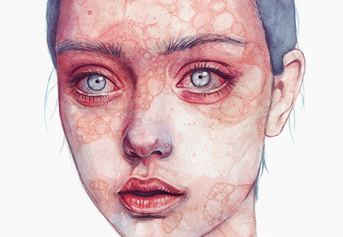 Textured Series - Watercolor portraits overlayered with various bubble textures.