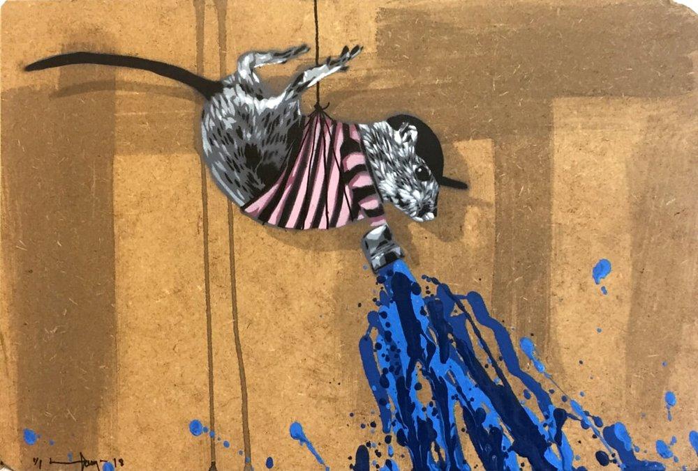 HAMA WOODS | Rat painting blue, 2018
