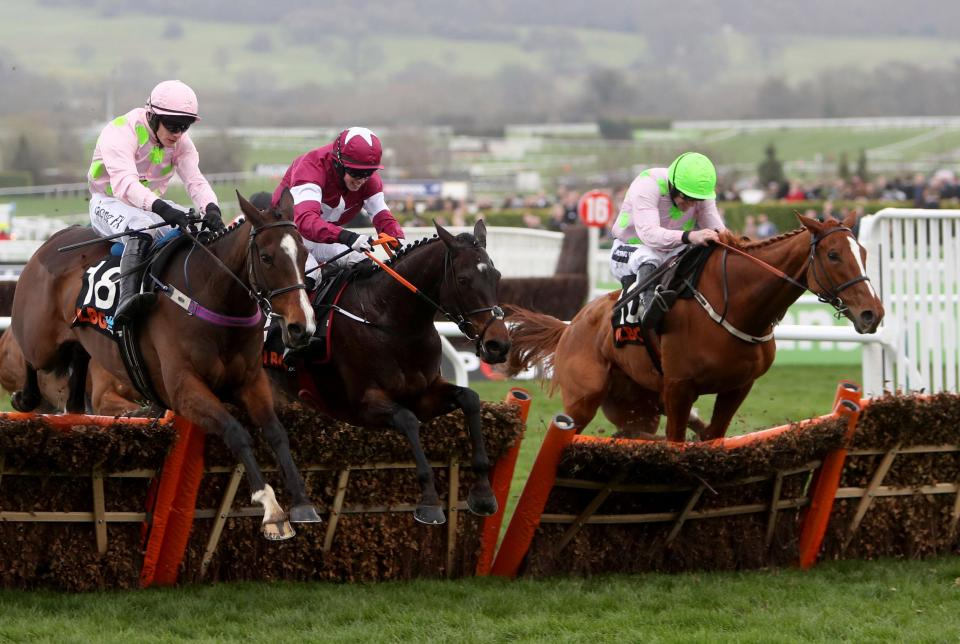 Apple's Jade (centre)holding off the challenge of the Mullins pair in last year's Mares Hurdle
