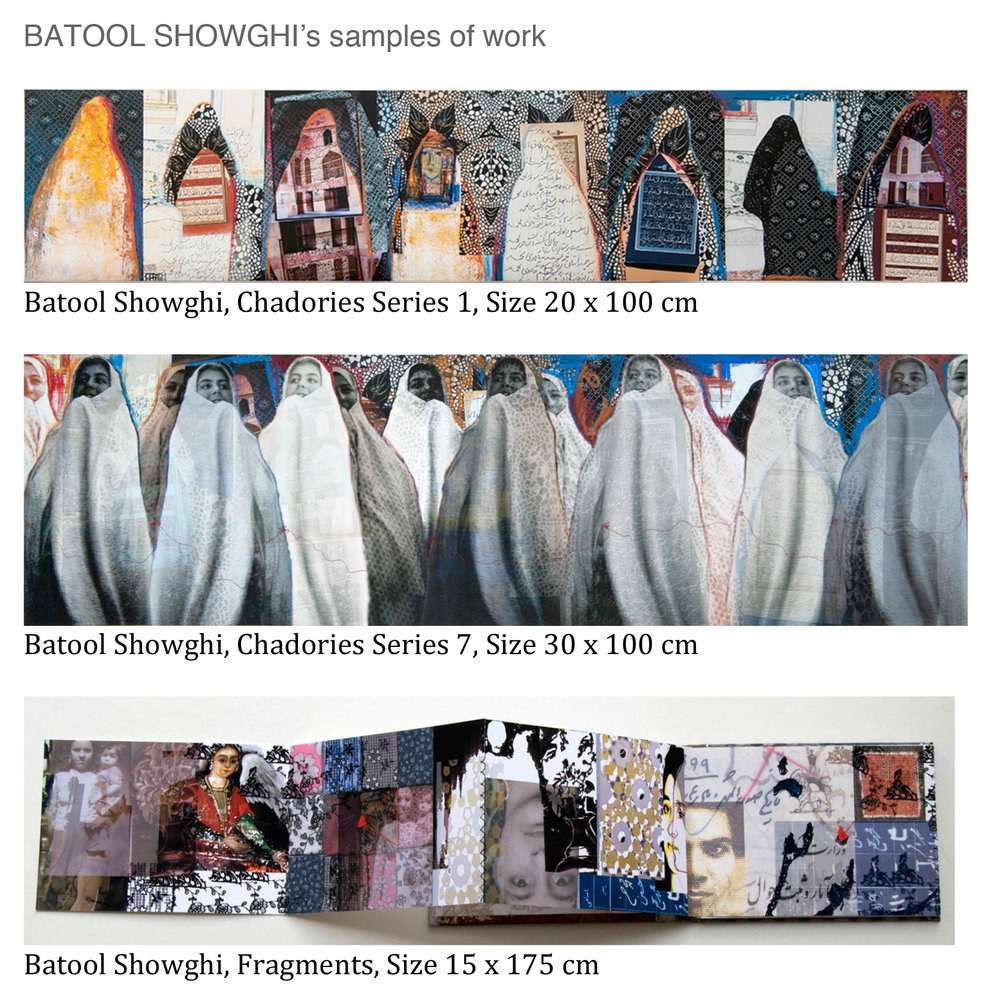Batool Showghi - As a multidisciplinary artist I have a passion for making artists' books and family albums. My work moves between photography, illustrations, painting and textiles evolving from single images to books, images in boxes or larger mixed media pieces. My artwork is concerned with my cultural heritage, memory, identity and loss. As an Iranian woman who has experienced discrimination through cultural and religious boundaries, such issues and subject matters are repeatedly addressed in my work. There is a sense of story telling and narrative in my photography work, which repeats and continues as you look at the body of work.Please describe what you intend to exhibit and any projects you wish to launch at Ink Paper + Print: Showing Artist's Books and illustrations recently made