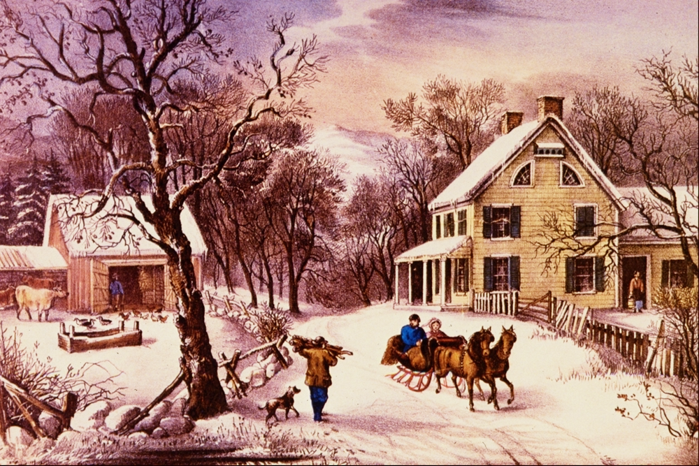 """American Homestead Winter,"" Currier and Ives (wikimedia commons / {{PD-US}})"