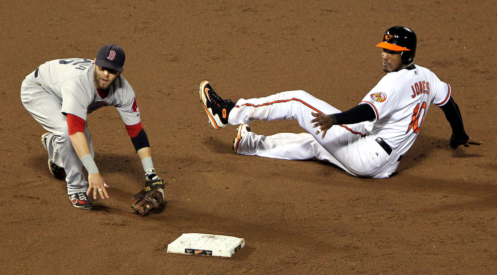 """Adam Jones, Dustin Pedroia,"" Keith  Allison /  flickr"