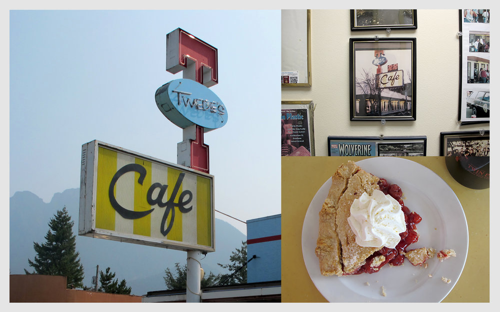Twede's Diner is the Double R, down to the black coffee and cherry pie, but with the addition of Twin Peaks memorabilia, headshots and set photos framed and mounted outside the restrooms
