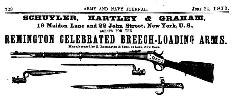 This is an advertisement for a Remington rifle in the Army and Navy Journal in 1871.Army and Navy Journal