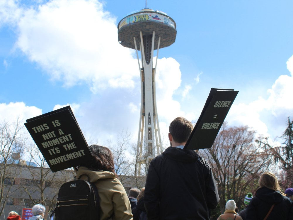 In front of the Space Needle in Seattle, WA. March 24th, 2018.  credit: Makayla Esposito