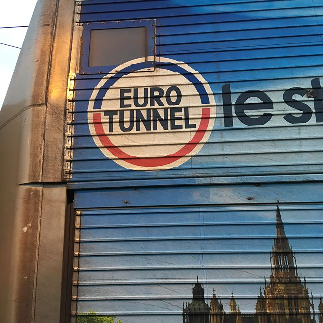 25 years ago the Channel Tunnel became a reality, and we celebrated being closer to Europe. What a difference a few years makes. #brexit #eurotunnel #ourfriendsineurope #union  From a purely visual sense the tunnel train looks cool in polished stainless steel, glass and lights..heading to Belgium to watch cyclo-x 🚲💨 and eat waffles,  and drink beer. 🍺 #ivotedtoremain