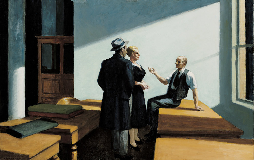 Conference at night. Edward Hopper, 1952.
