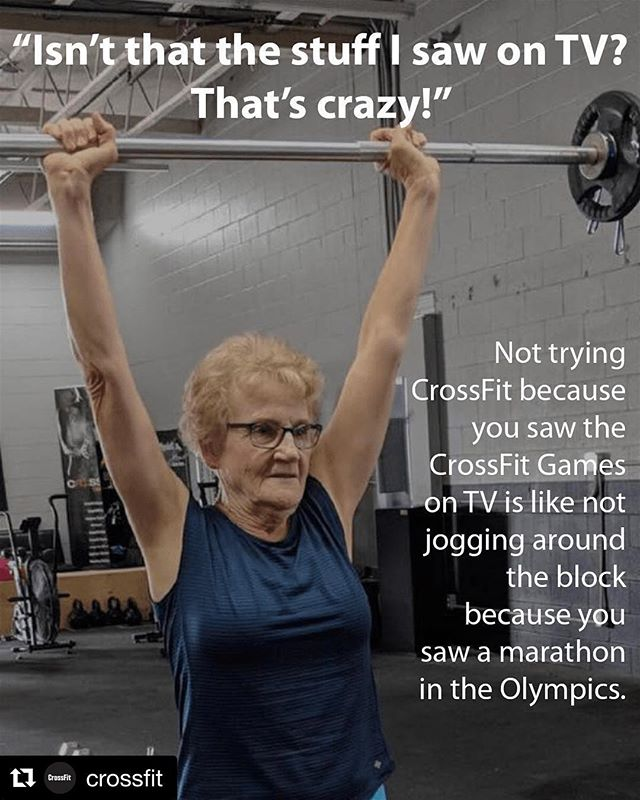 🙏 #Repost @crossfit ・・・ How do you get your grandmother, coworker, dad, etc. to try CrossFit? Bring them to the box. Or have them try a highly scaled WOD at home. - Admittedly, this can be challenging. There are a lot of misconceptions about CrossFit. So here's a guide to debunking those common myths. See link in bio. - 📸 @crossfitleduc #CrossFit