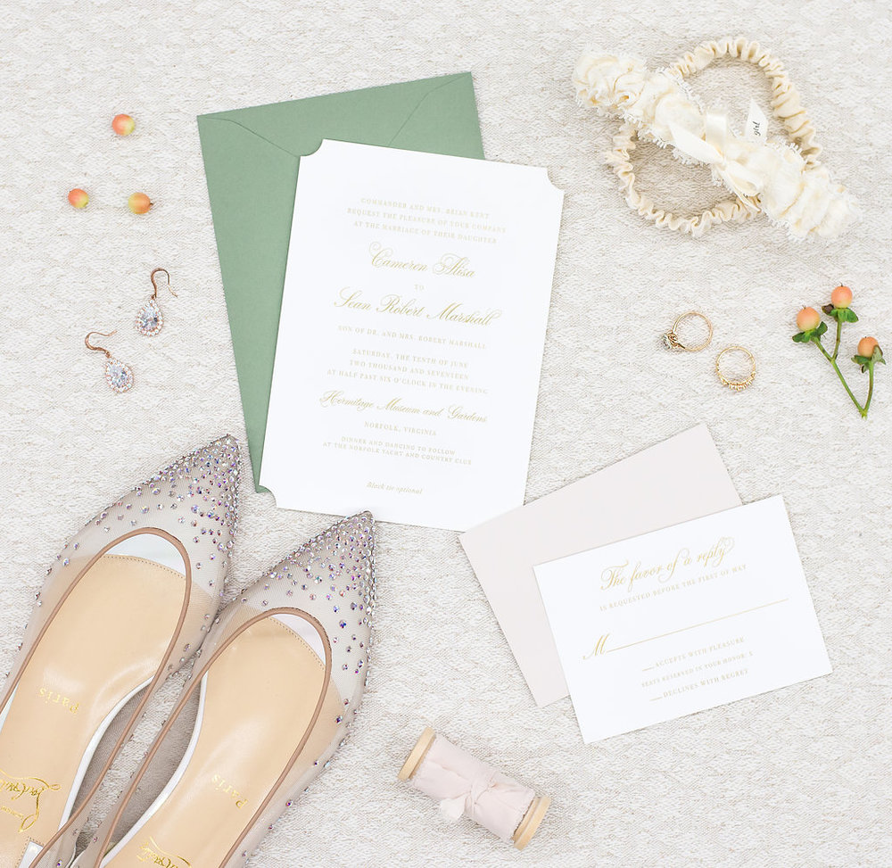 classic-wedding-invitation-and-louboutin-wedding-shoes