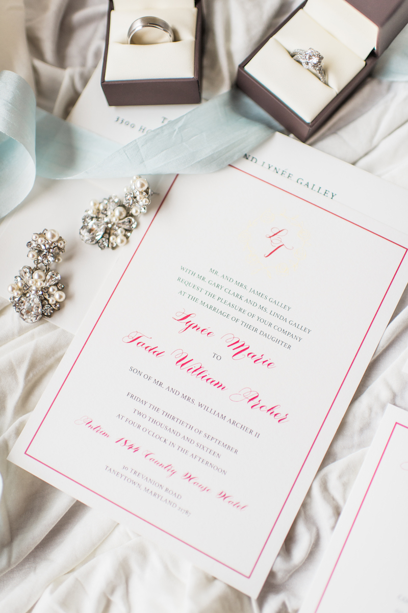 Elegant Gold and Raspberry Custom Wedding Invitations at Antrim 1844 ...