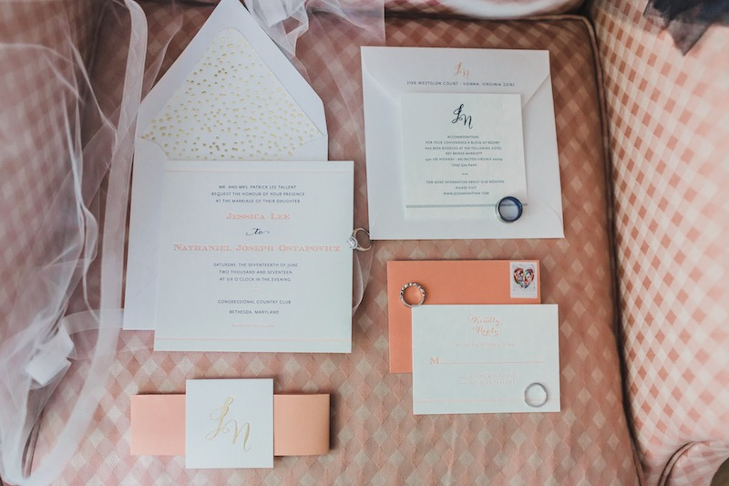 gold foil and coral custom wedding invitations for a formal and