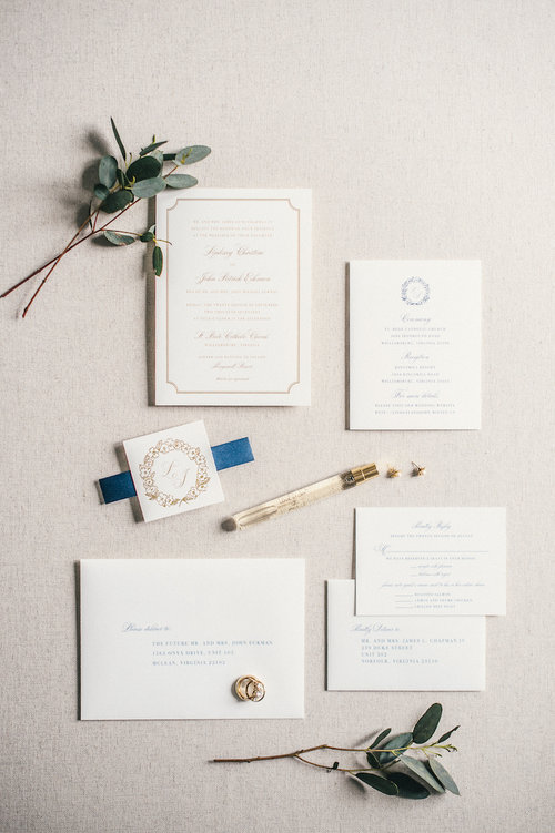 f808946493d94 Custom Wedding Wreath and Monogram for Classic Navy and Gold Wedding ...