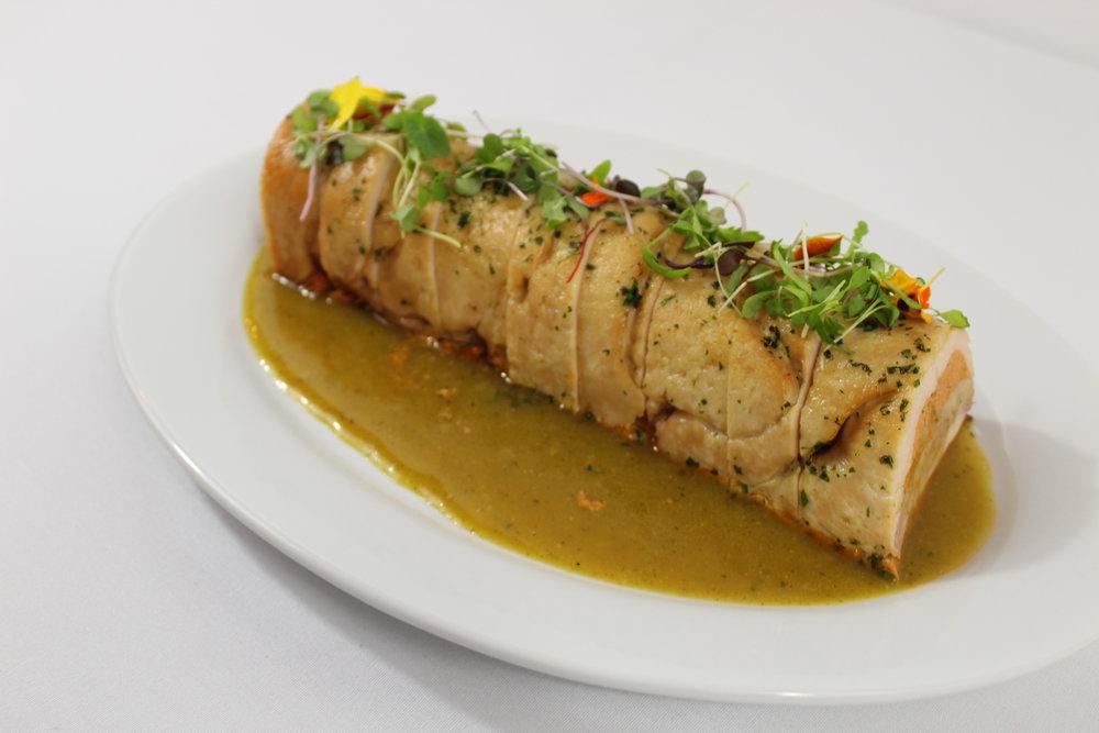 Turkey Terrine with Roasted Poblano Sauce