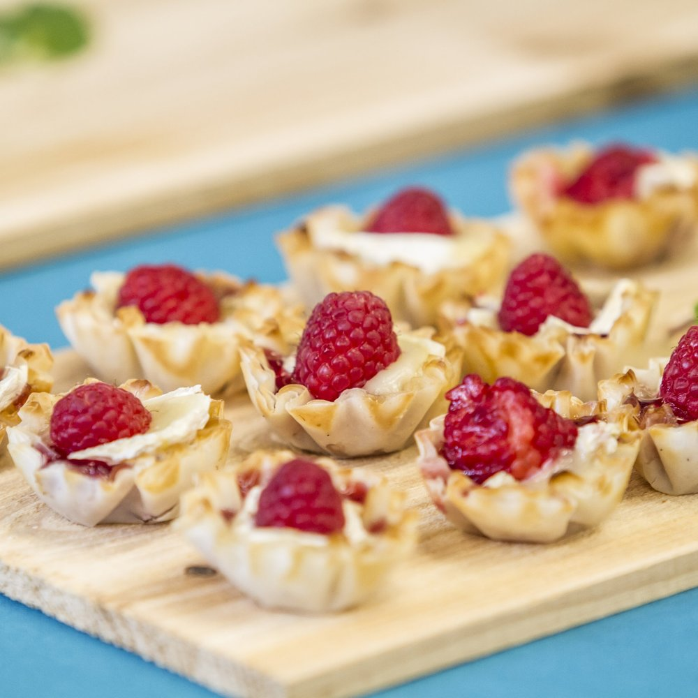two bite- raseberry brie tartlet display.JPG