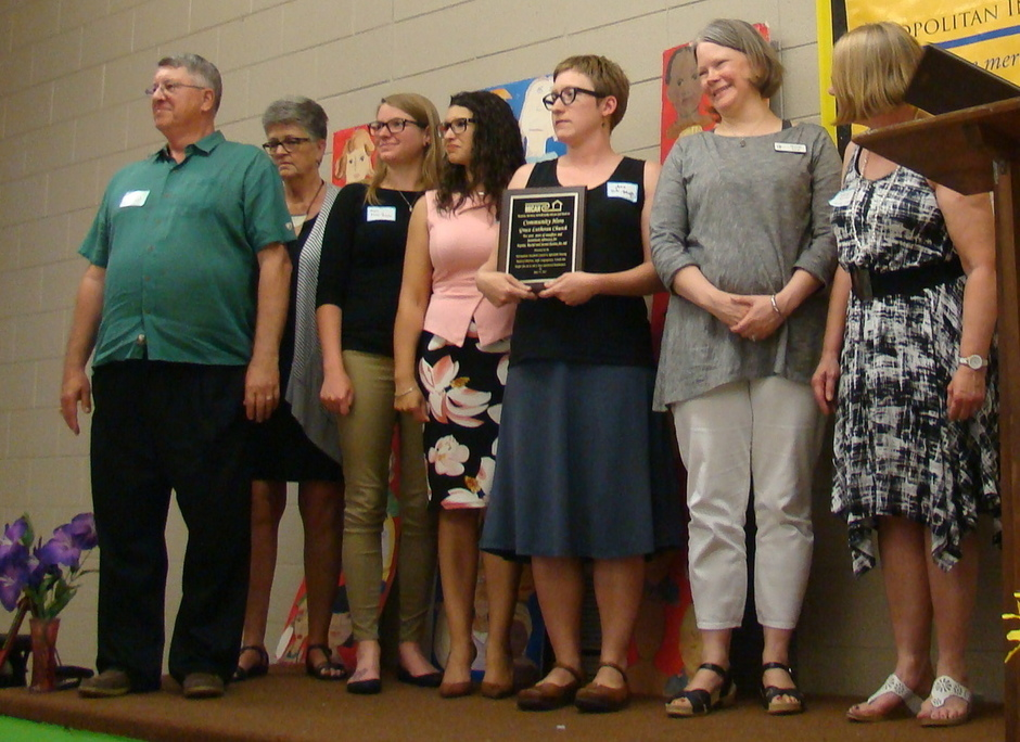 Pastor Andrea Roske-Metcalfe of Grace Lutheran Church of Apple Valley and others from the four honored churches.
