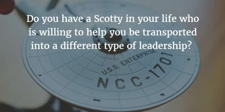 Beam Me Up, Scotty! A Different Kind of Leadership - moneyinc.comAny Star Trek fan knows this catchphrase was one Captain James T. Kirk of the Starship Enterprise used frequently to let his chief engineer Scotty know when he was ready to be transported back to the ship. If you recall, the transporter transformed the human body into matter to transport it through space and transform it back into the human body once on the ship.