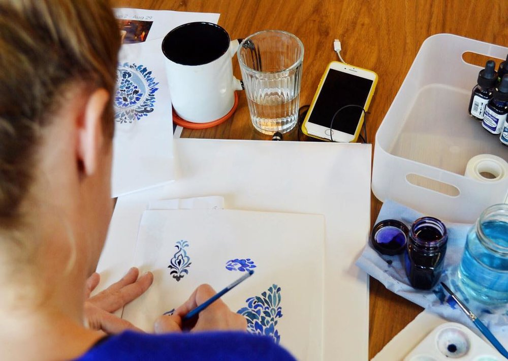 Mirren paints her beautiful designs by hand at the PLATF9RM kitchen table