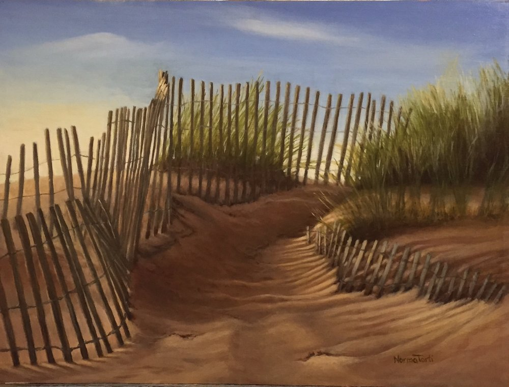 Nantucket Pathway - 20 x 15, oil on canvas on board