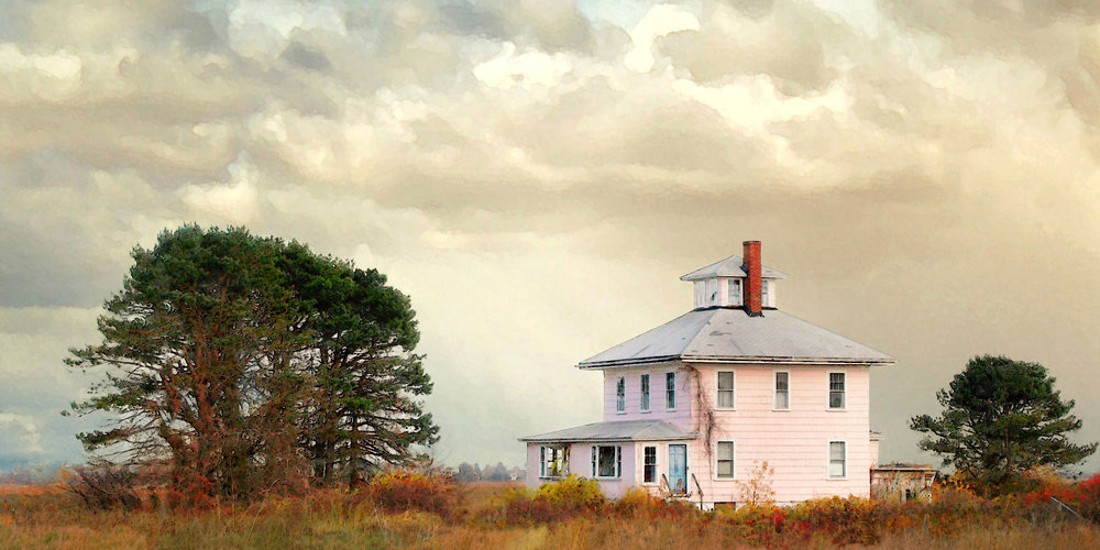 Pink House - 48 x 24, photograph on canvas