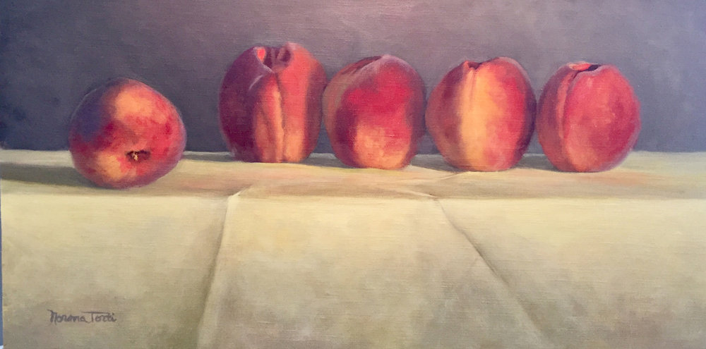 Just Peachy,  22x12,  oil on canvas on board