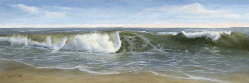 Breakers, 36x12, oil on canvas, on board. Fine Art print available.