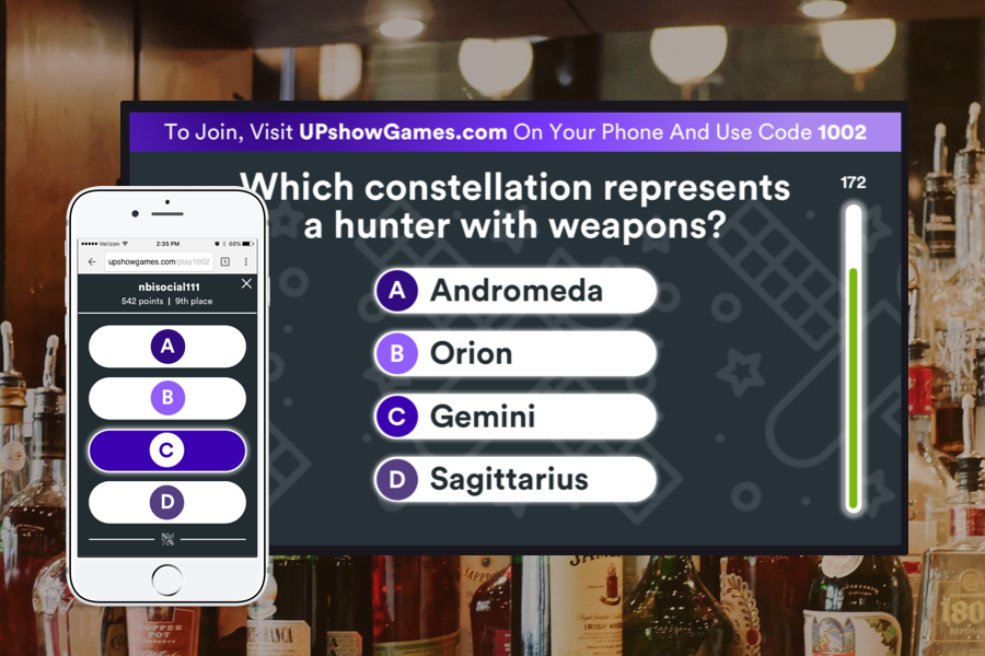 Trivia On Autopilot - Boost customer engagement and length of stay while providing countless conversation starters with UPshow's trivia. Easily schedule trivia events onto your screen, or make it a constant part of your UPshow content rotation. Best of all, anyone can join the game in seconds from their phone - no app required!