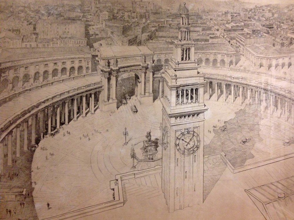 This turn-of-the-century vision would have created a grand public space in front of the Ferry Building encircled by classically-styled columns and arches. Source: Willis Polk (1897)