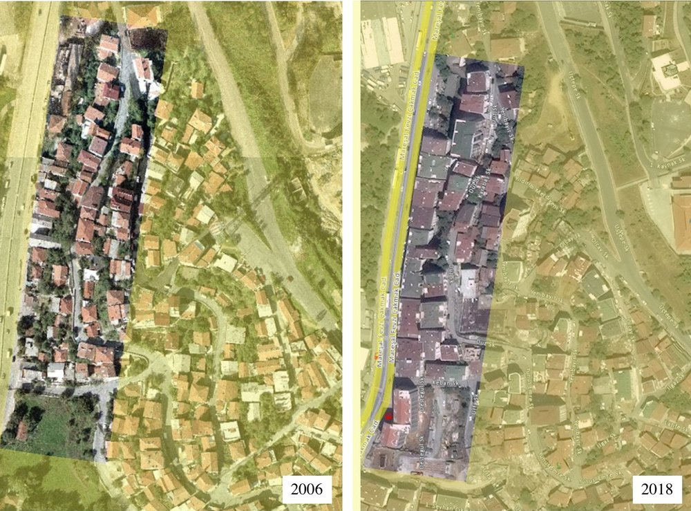 2006 and 2018 Photos from Güzeltepe neighborhood (Images from Istanbul Municipality Archives and adapted by the authors)