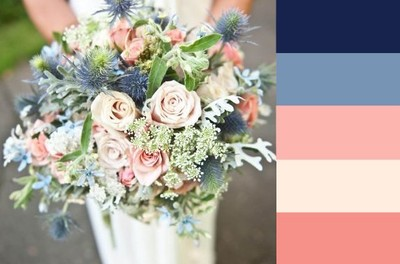 Inspiration for the color palette we are thinking for the dining room - indigo and blush!