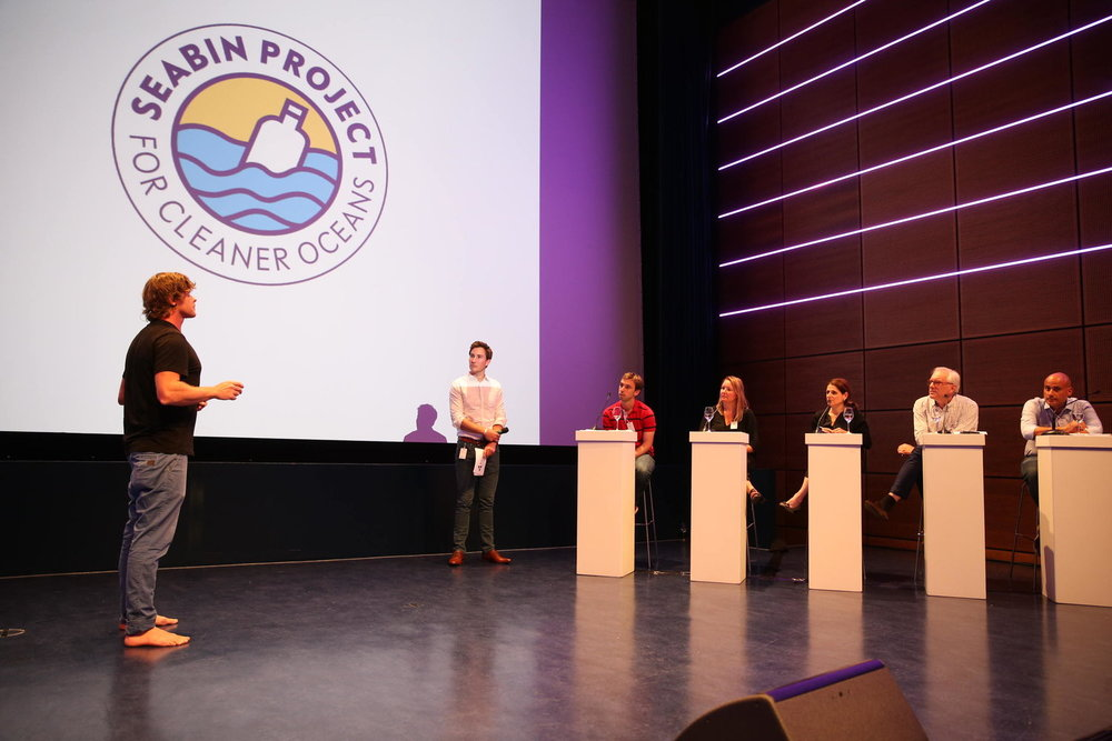 Pete (Seabin Project) answering the questions of the judges
