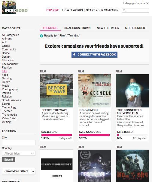 Indiegogo #1 trending film campaign