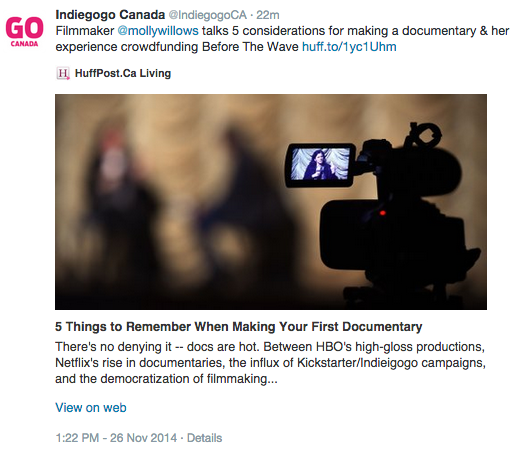 Indiegogo mention