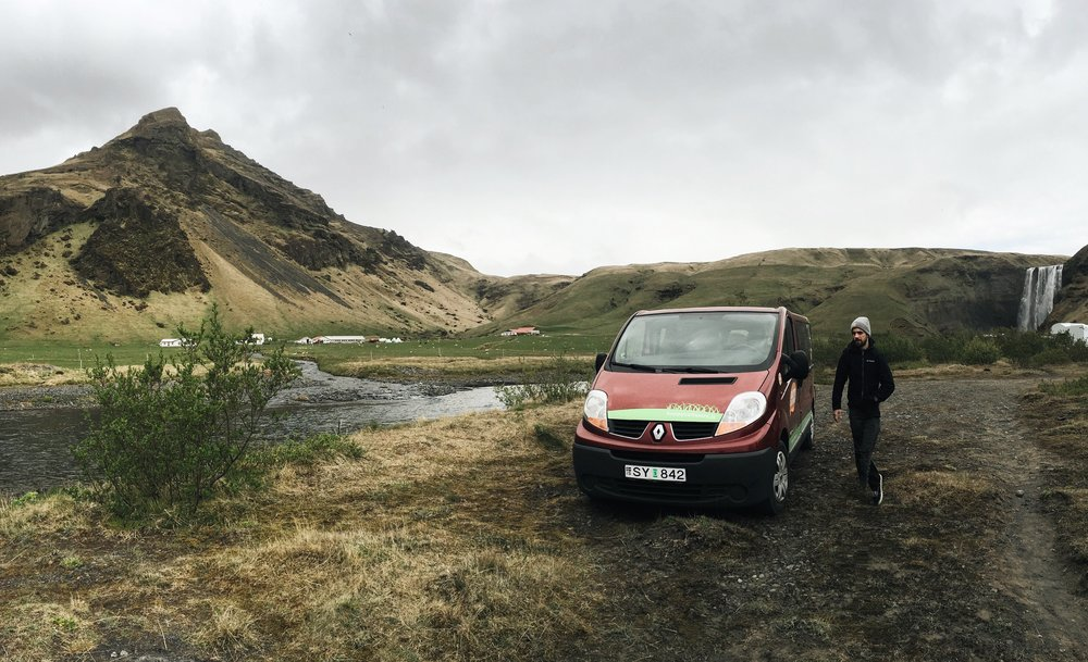 Our camping spot at Skógafoss waterfall