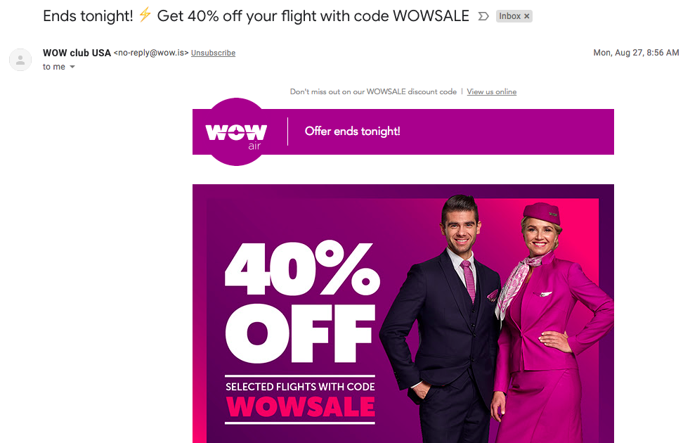 An email from wow air containing a discount code