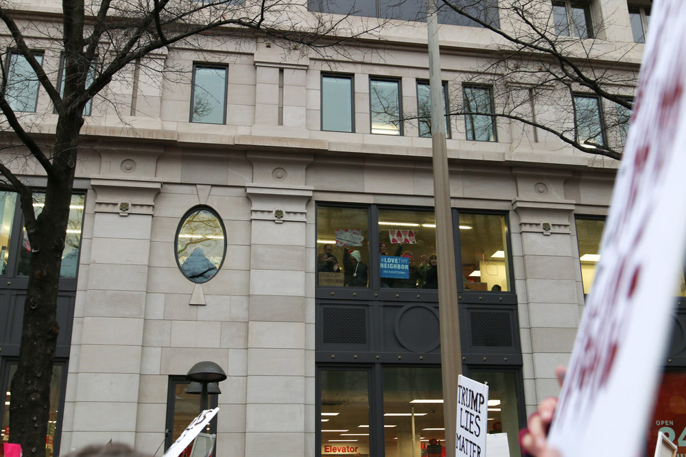 This is a CVS, people were packing the stores to support the march! We even saw people shopping celebrating with us!