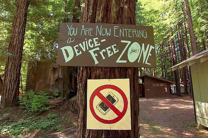 Geen telefoons en geen wifi
